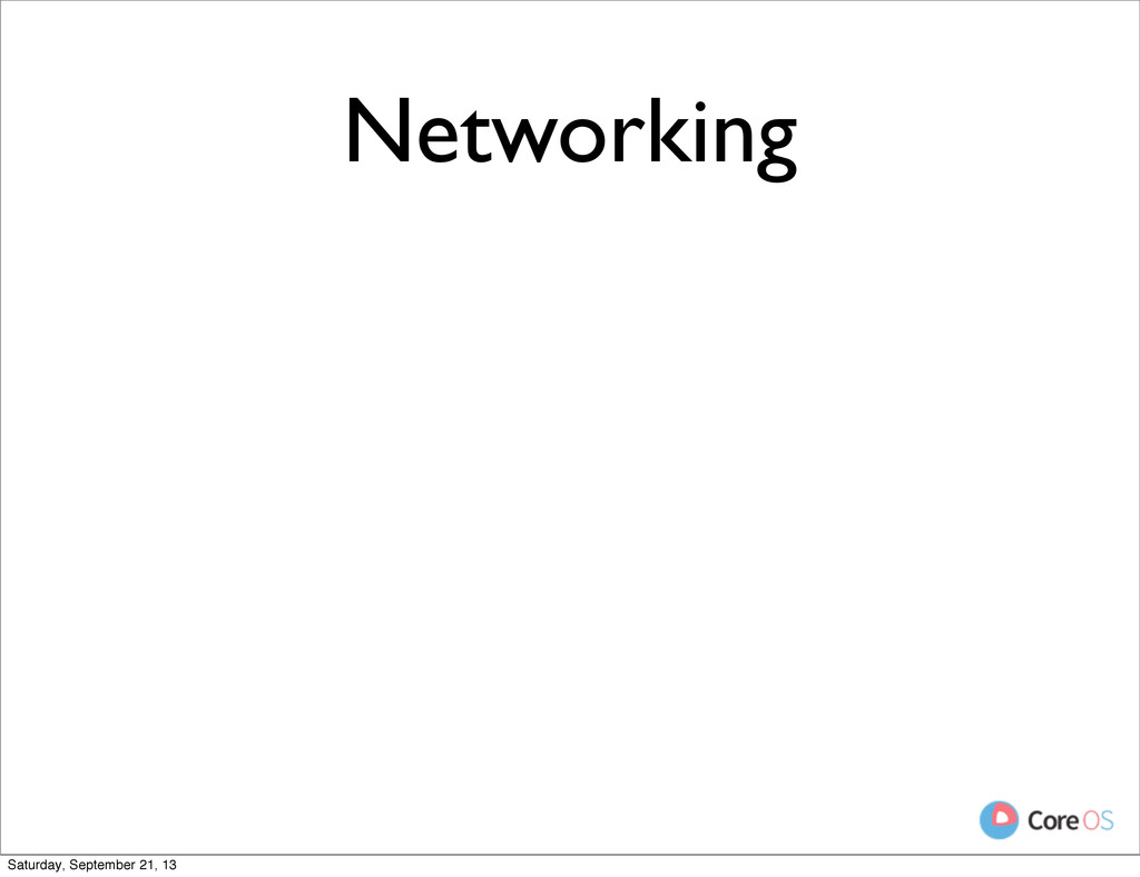 Networking Saturday, September 21, 13