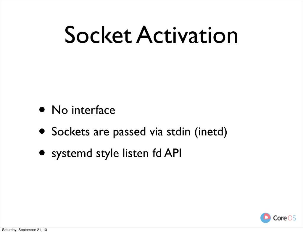 Socket Activation • No interface • Sockets are ...