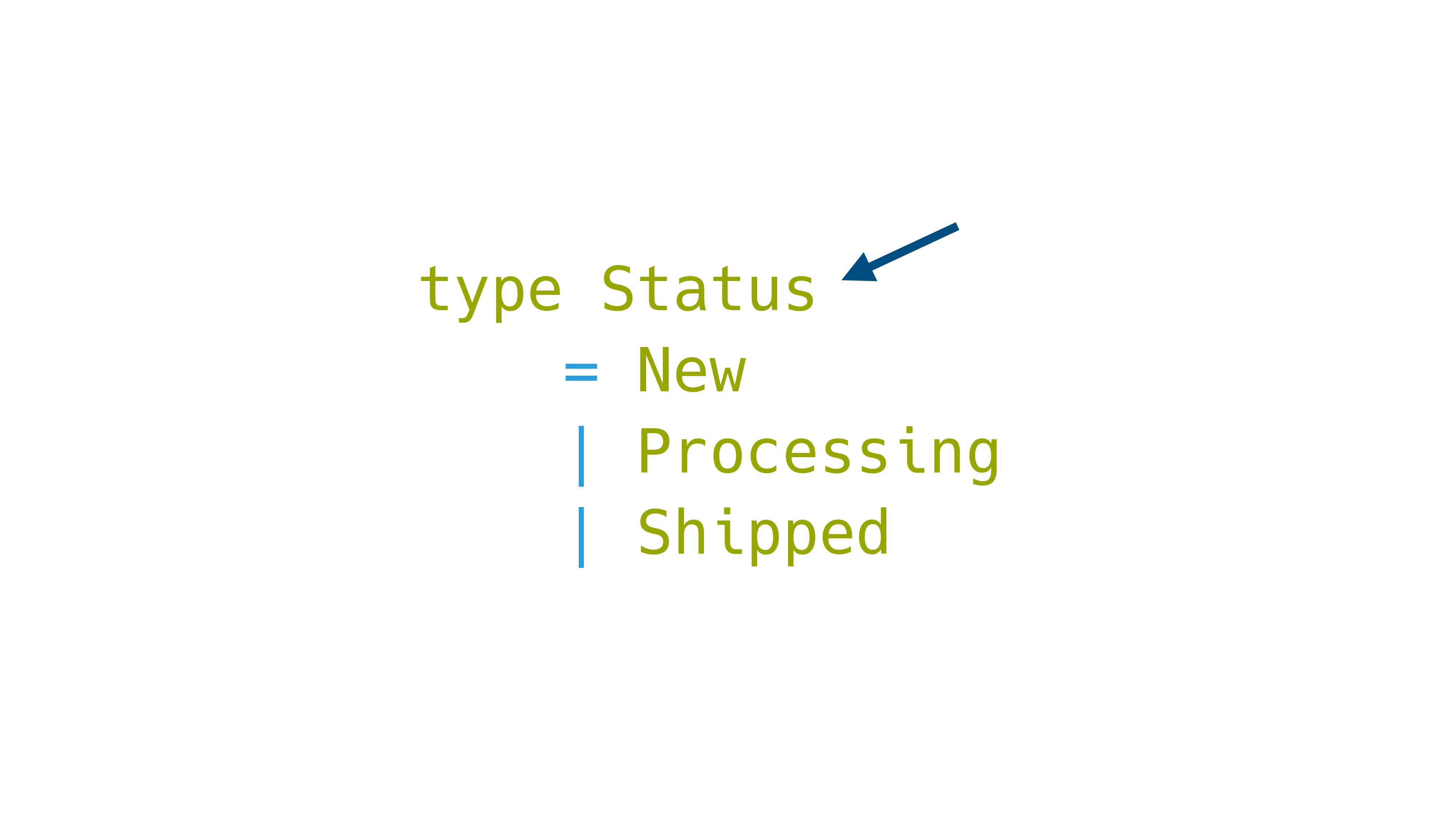 type Status = New | Processing | Shipped