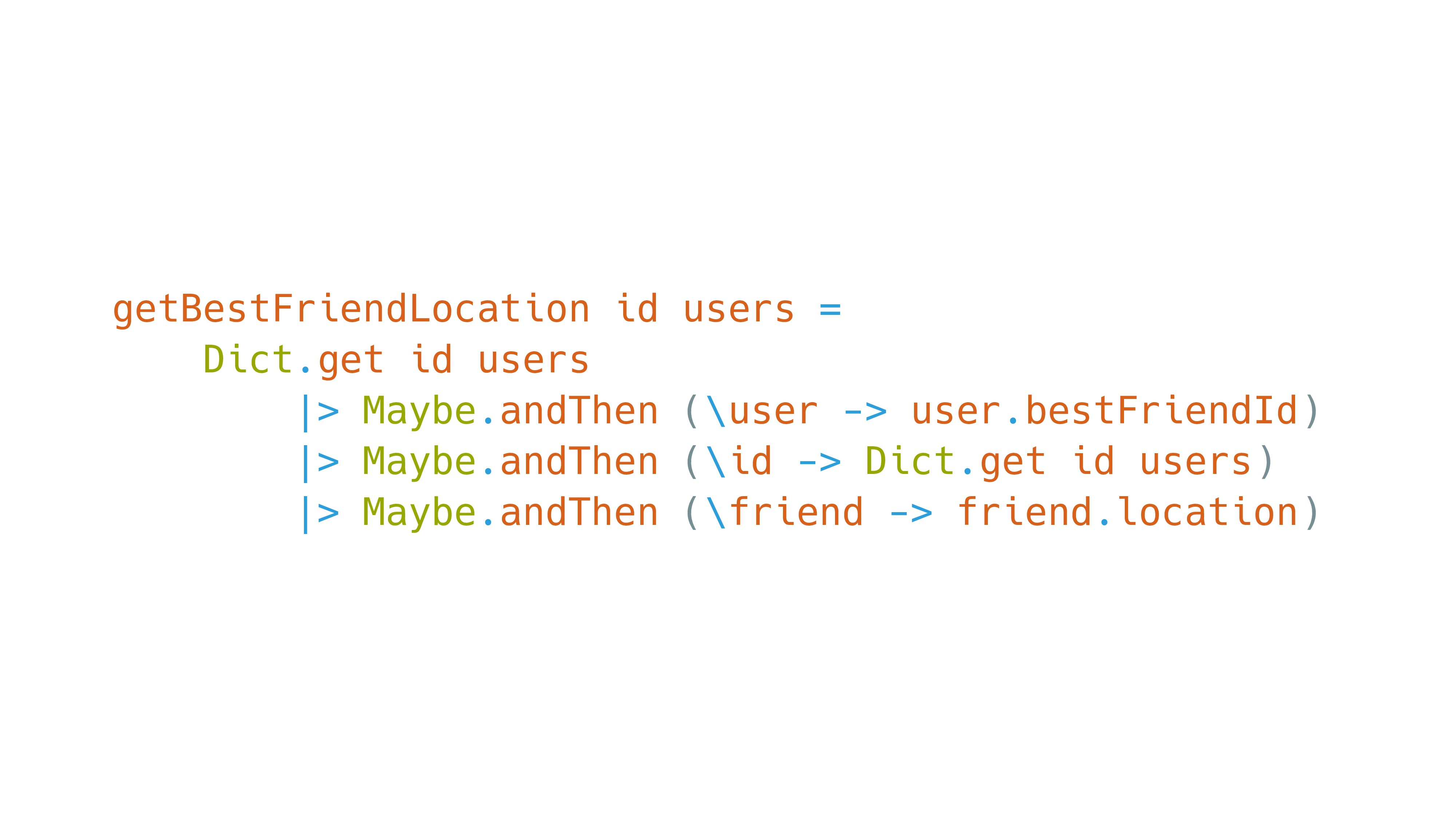 getBestFriendLocation id users = Dict.get id us...