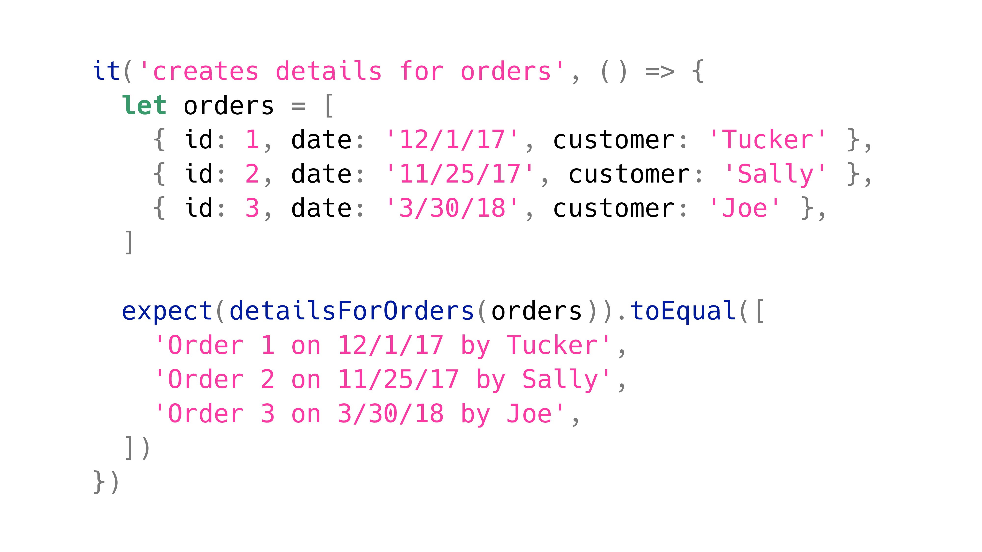 it('creates details for orders', () => { let or...