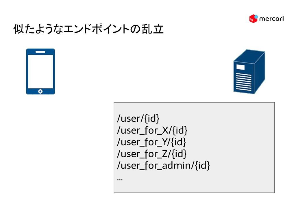 似たようなエンドポイントの乱立 /user/{id} /user_for_X/{id} /us...