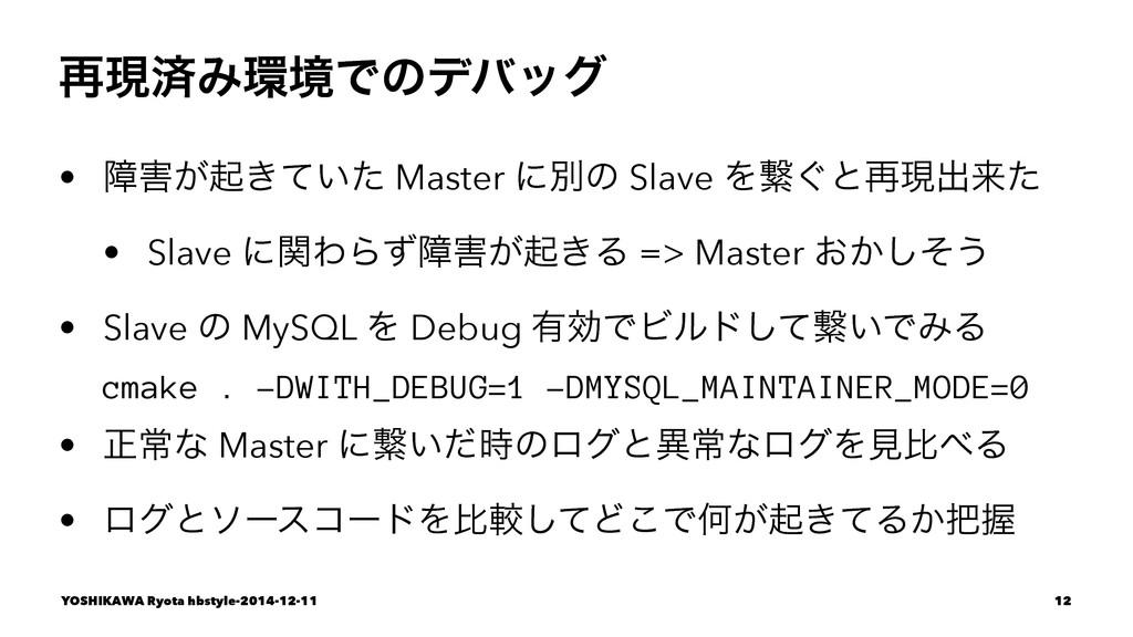 ࠶ݱࡁΈڥͰͷσόοά • ো͕ى͖͍ͯͨ Master ʹผͷ Slave Λܨ͙ͱ࠶ݱ...
