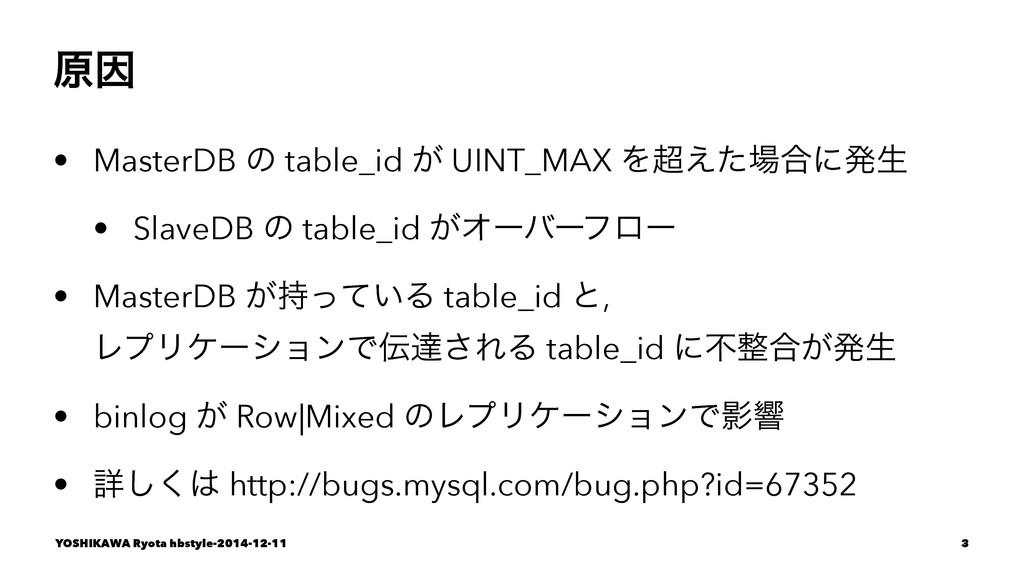 ݪҼ • MasterDB ͷ table_id ͕ UINT_MAX Λ͑ͨ߹ʹൃੜ •...