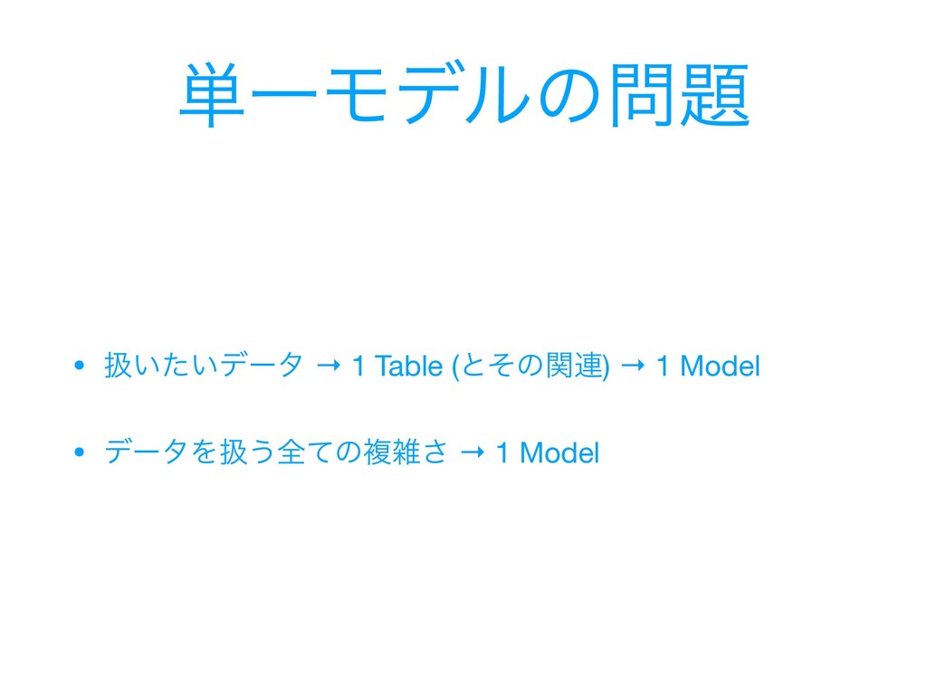 ୯ҰϞσϧͷ • ѻ͍͍ͨσʔλ → 1 Table (ͱͦͷؔ࿈) → 1 Model ...