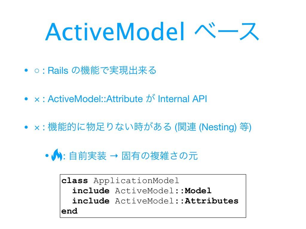 • ○ : Rails ͷػͰ࣮ݱग़དྷΔ  • × : ActiveModel::Attri...