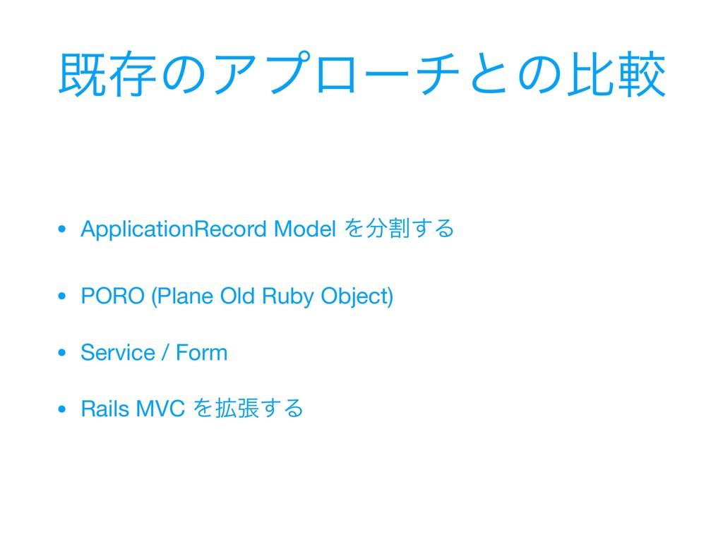 طଘͷΞϓϩʔνͱͷൺֱ • ApplicationRecord Model Λׂ͢Δ  •...