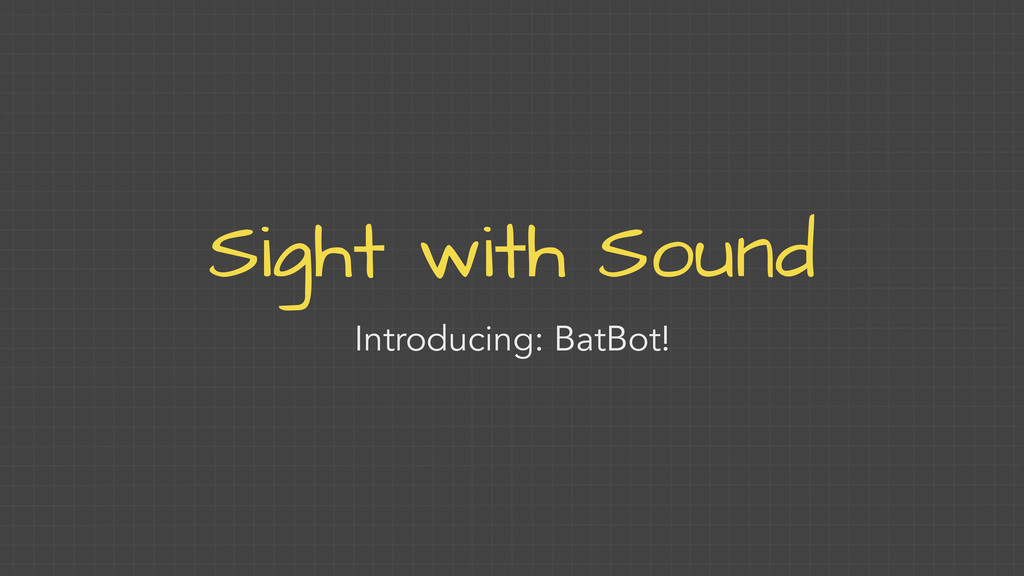 Sight with Sound Introducing: BatBot!