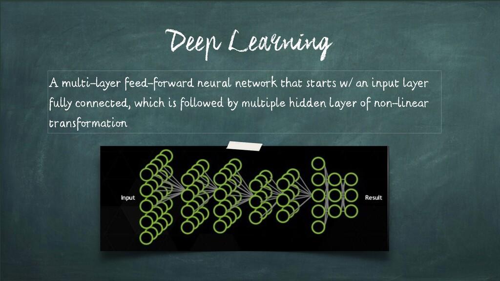 Deep Learning A multi-layer feed-forward neural...