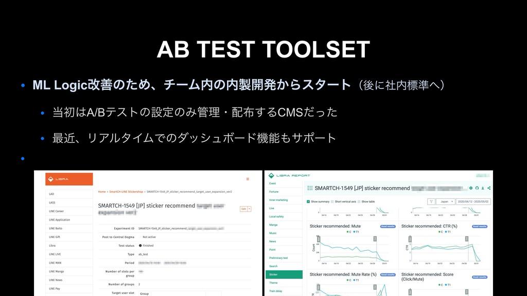 AB TEST TOOLSET ● ML LogicվળͷͨΊɺνʔϜͷ։ൃ͔Βελʔτ...