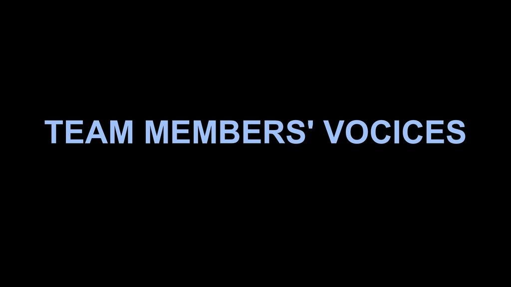 TEAM MEMBERS' VOCICES