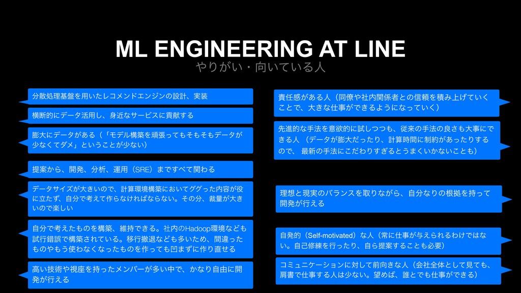 Γ͕͍ɾ͍͍ͯΔਓ ML ENGINEERING AT LINE σʔλαΠζ͕େ͖͍ͷͰ...