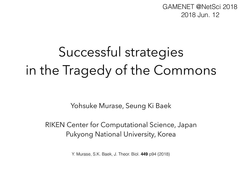 Successful strategies in the Tragedy of the Com...