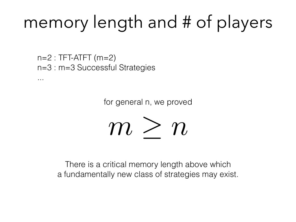 memory length and # of players m n <latexit sha...
