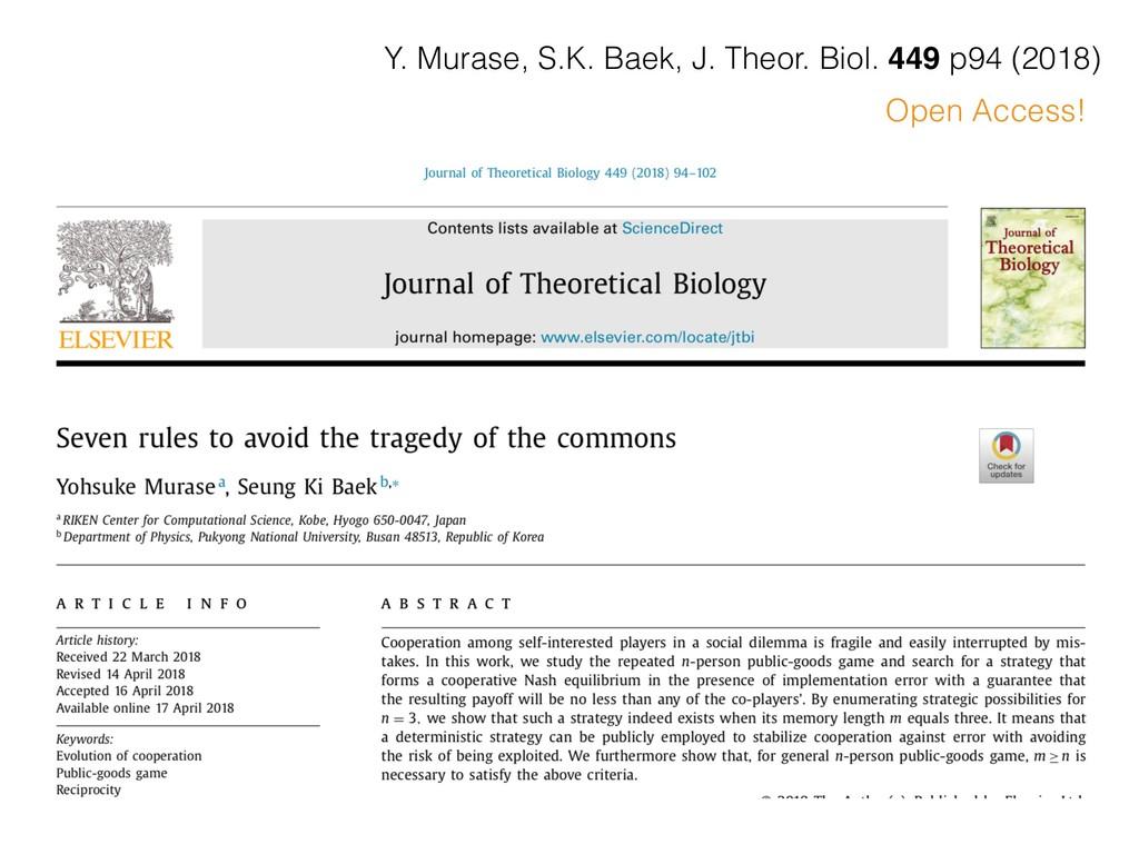 Open Access! Y. Murase, S.K. Baek, J. Theor. Bi...