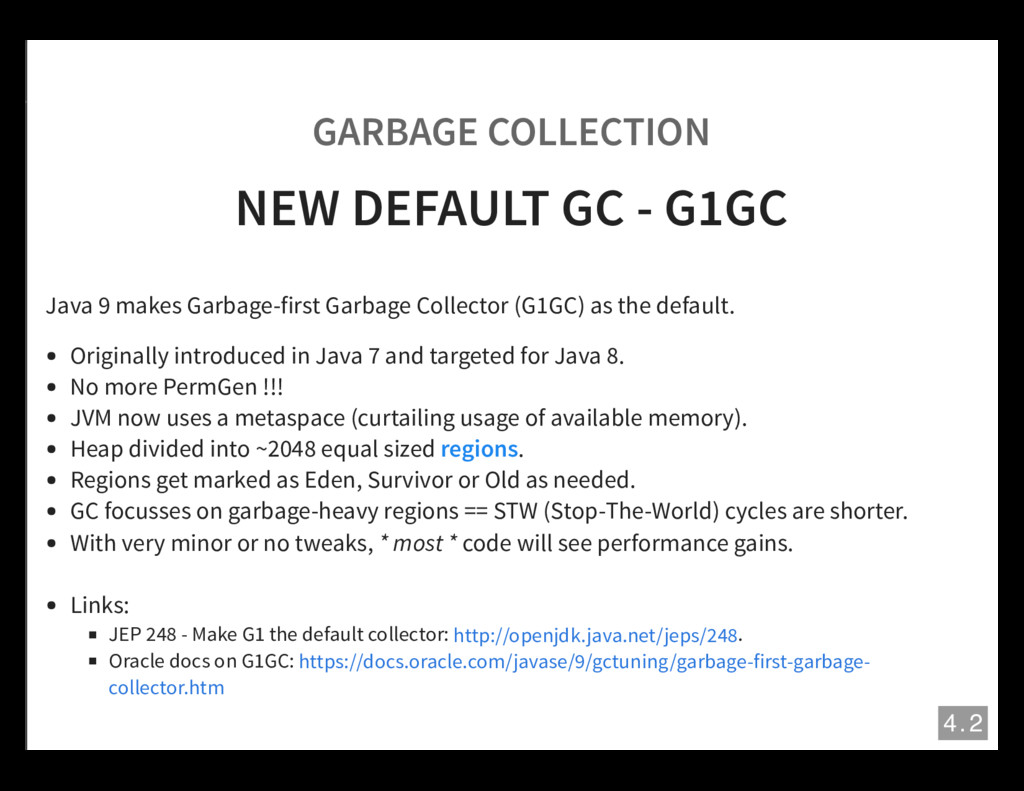 GARBAGE COLLECTION NEW DEFAULT GC - G1GC Java 9...
