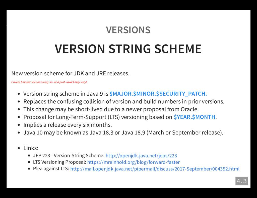 VERSIONS VERSION STRING SCHEME New version sche...