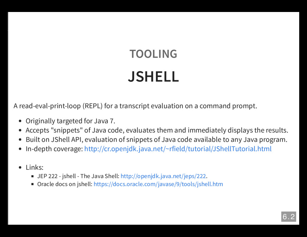 TOOLING JSHELL A read-eval-print-loop (REPL) fo...