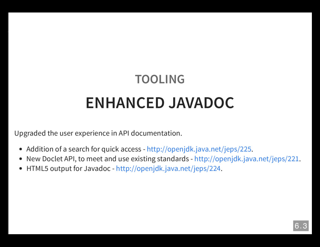 TOOLING ENHANCED JAVADOC Upgraded the user expe...