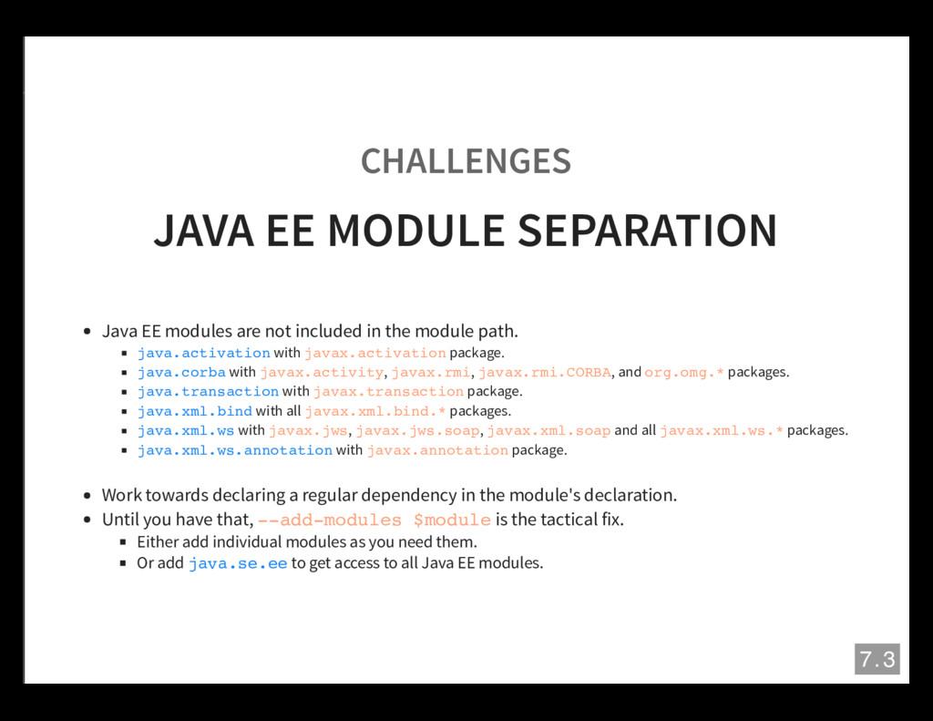 CHALLENGES JAVA EE MODULE SEPARATION Java EE mo...