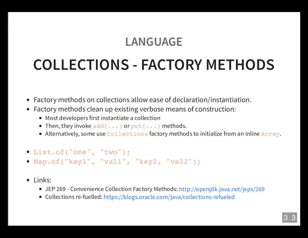 LANGUAGE COLLECTIONS - FACTORY METHODS Factory ...