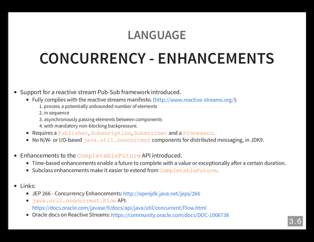 LANGUAGE CONCURRENCY - ENHANCEMENTS Support for...