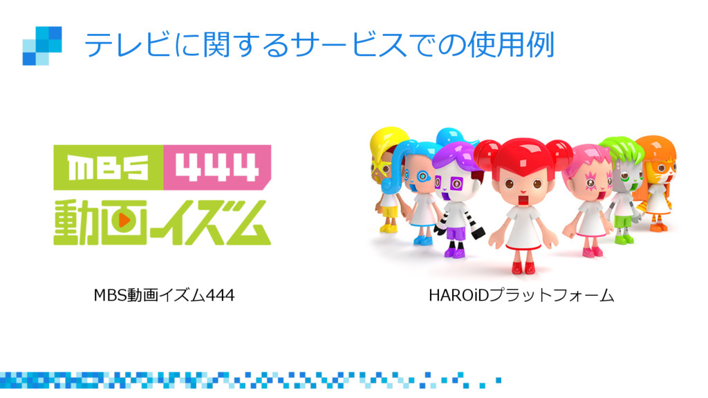 テレビに関するサービスでの使⽤用例例 MBS動画イズム444 HAROiDプラットフォーム