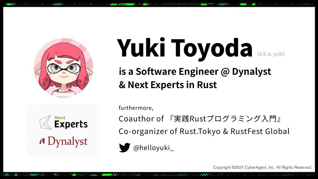 (a.k.a. yuki) furthermore, Coauthor of 『実践Rustプ...