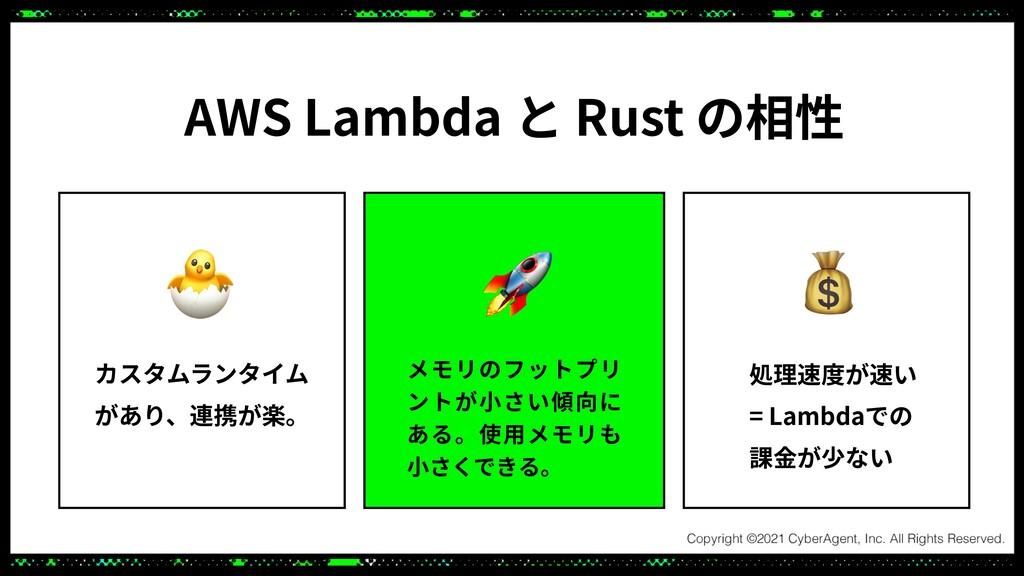 AWS Lambda と Rust の相性 カスタムランタイム があり、連携が楽。 メモリのフ...