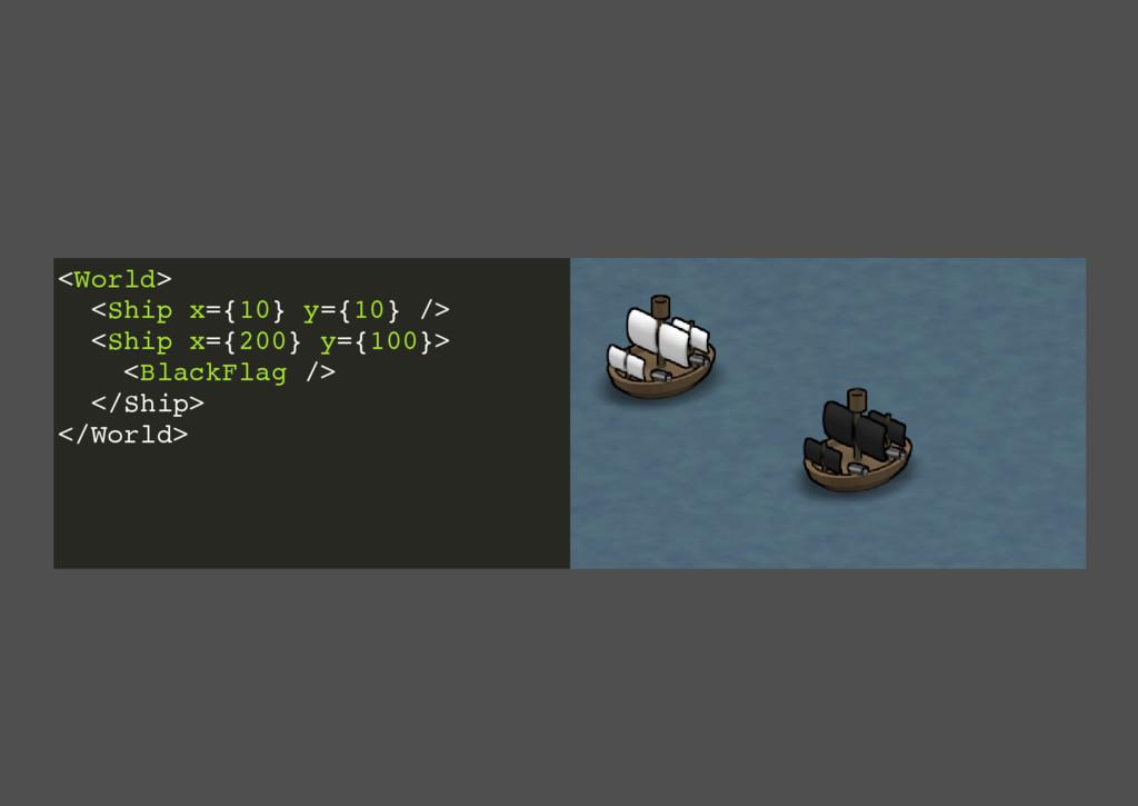 <World> <Ship x={10} y={10} /> <Ship x={200} y=...