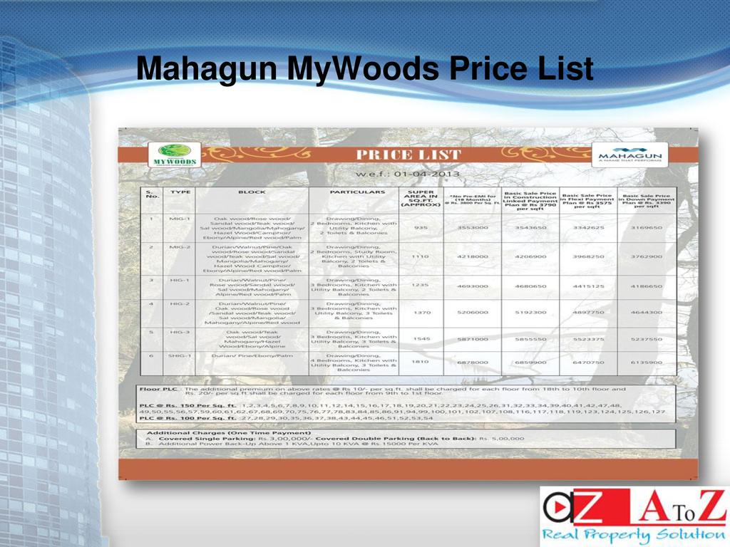Mahagun MyWoods Price List