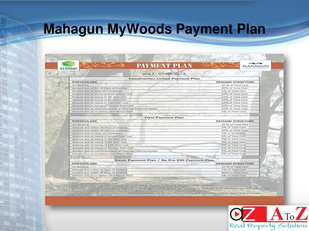 Mahagun MyWoods Payment Plan