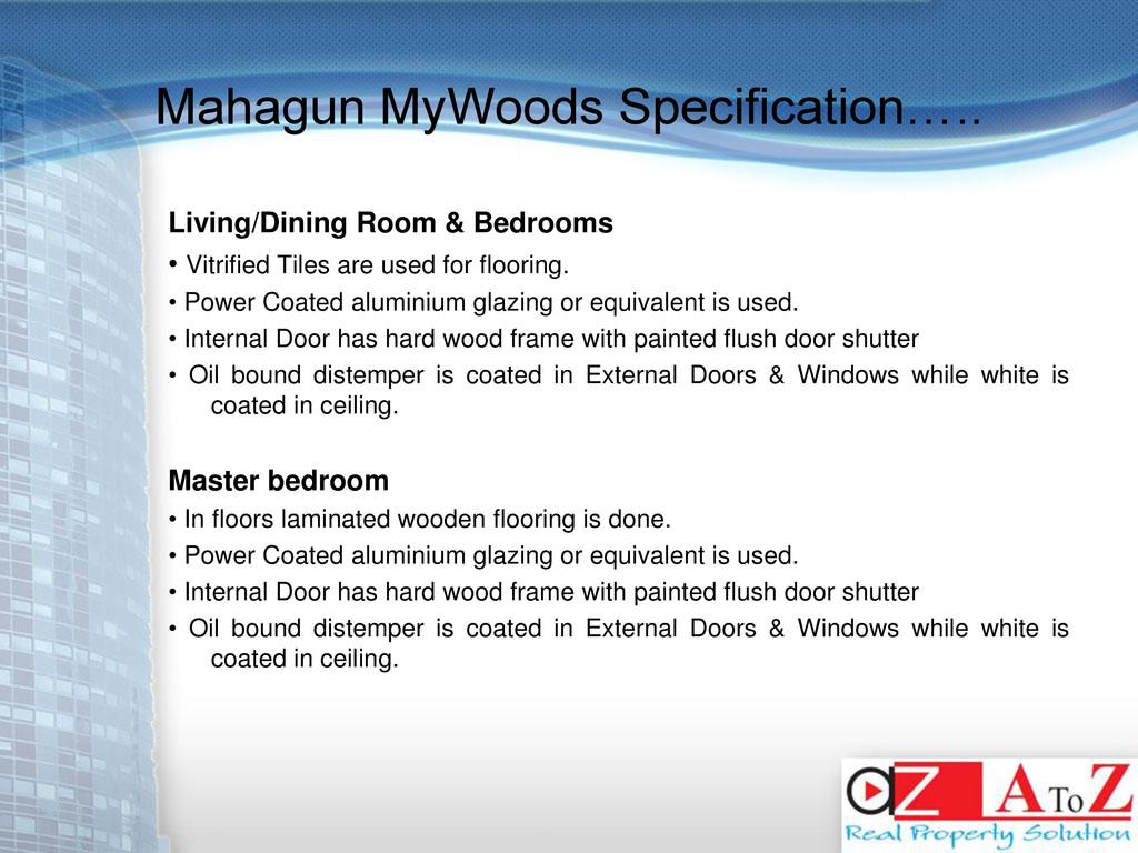 Mahagun MyWoods Specification….. Living/Dining ...