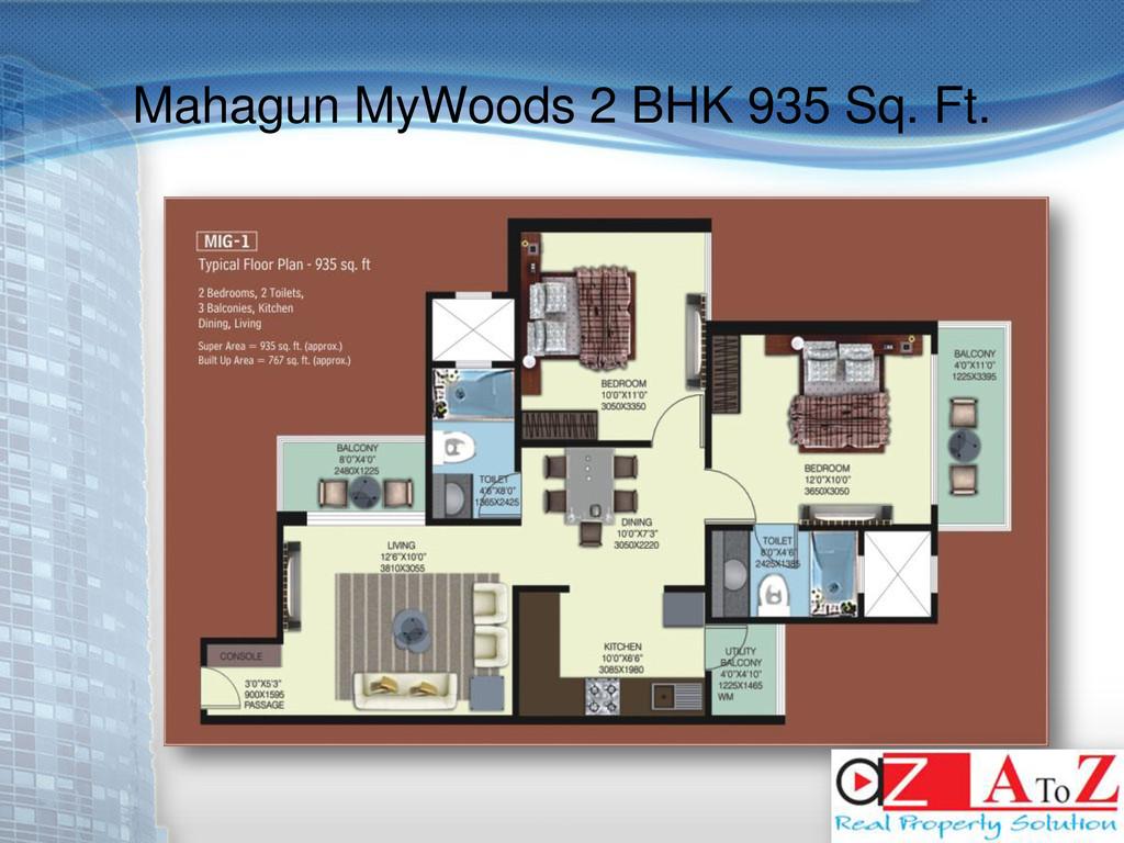 Mahagun MyWoods 2 BHK 935 Sq. Ft.