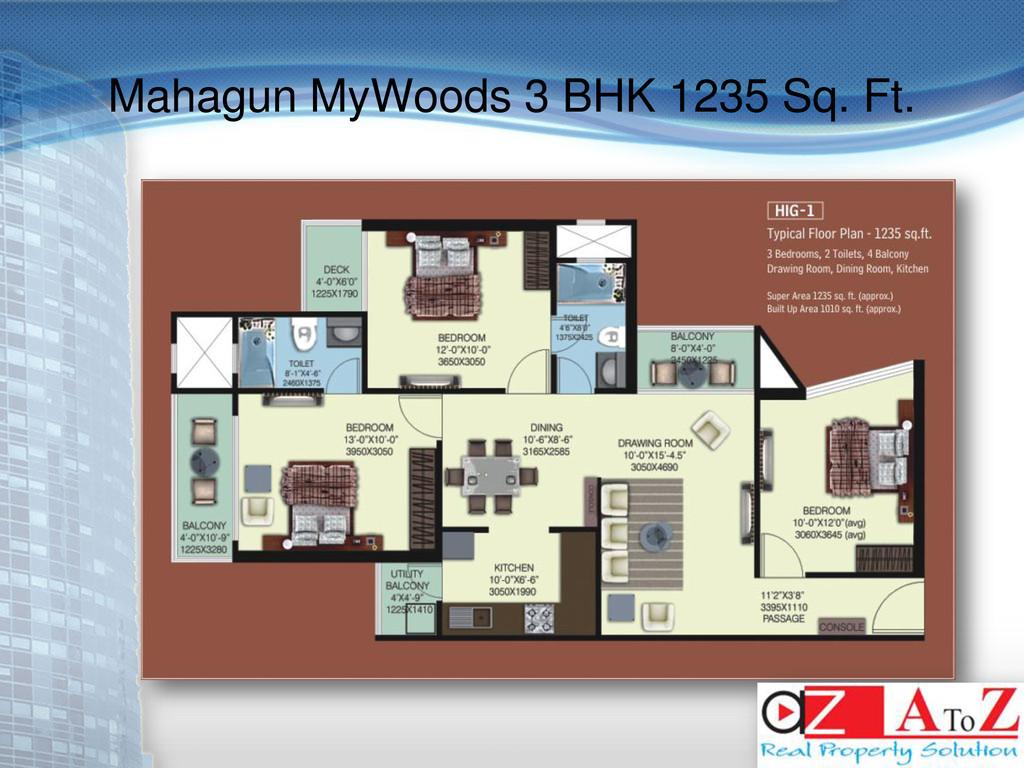 Mahagun MyWoods 3 BHK 1235 Sq. Ft.