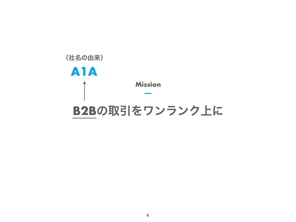 B2BͷऔҾΛϫϯϥϯΫ্ʹ Mission A1A ʢ໊ࣾͷ༝དྷʣ 4