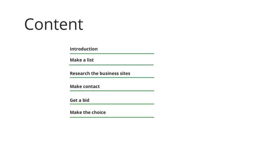 Content Introduction Make a list Research the b...