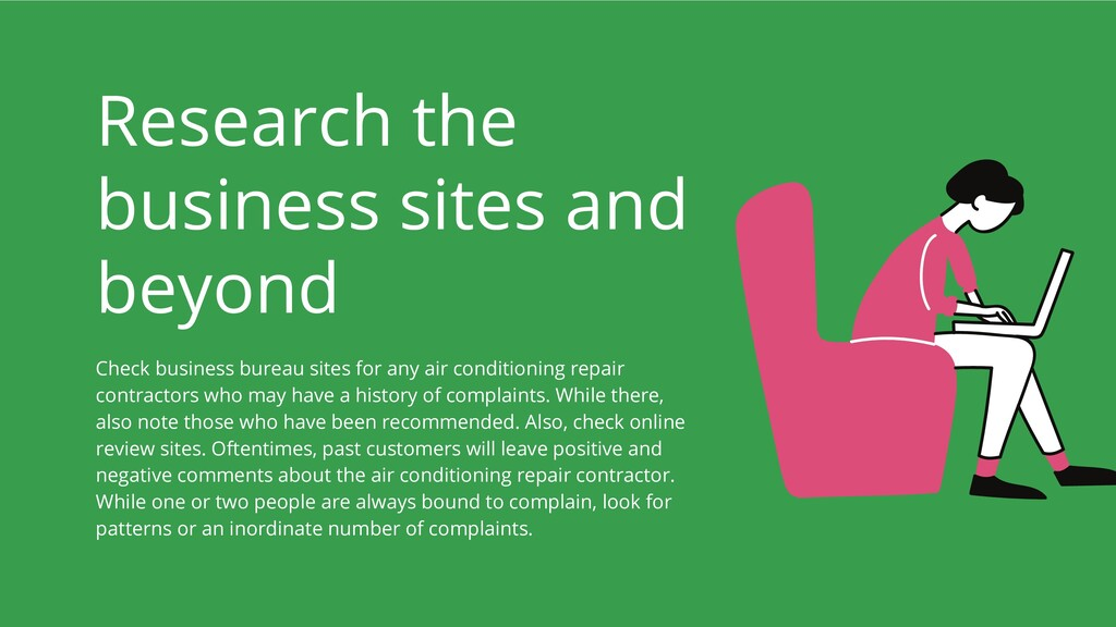 Research the business sites and beyond Check bu...