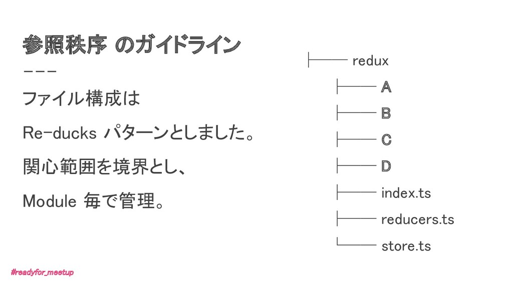 参照秩序 のガイドライン ファイル構成は Re-ducks パターンとしました。 関心範囲...