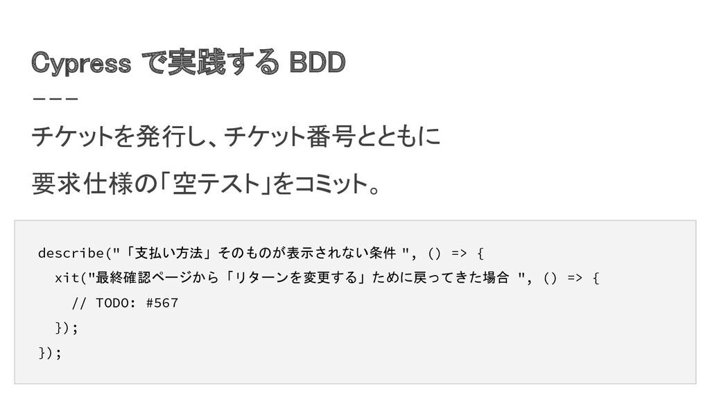 Cypress で実践する BDD チケットを発行し、チケット番号とともに 要求仕様の「空...