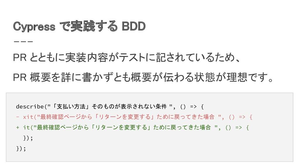 Cypress で実践する BDD PR とともに実装内容がテストに記されているため、 P...