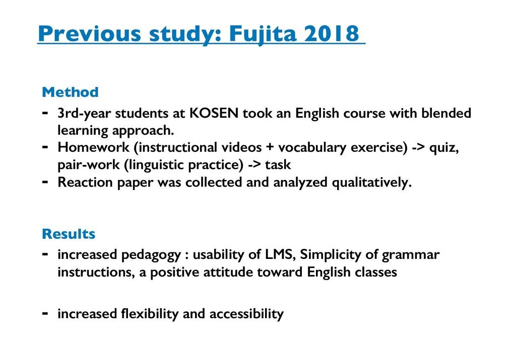 Previous study: Fujita 2018 Method - 3rd-year s...