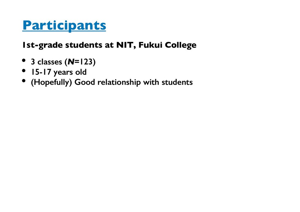 1st-grade students at NIT, Fukui College Partic...