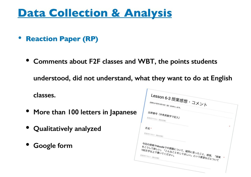Data Collection & Analysis • Reaction Paper (RP...