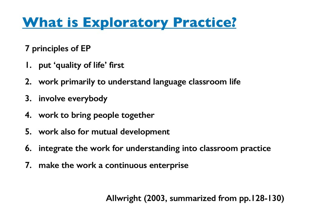 What is Exploratory Practice? 7 principles of E...