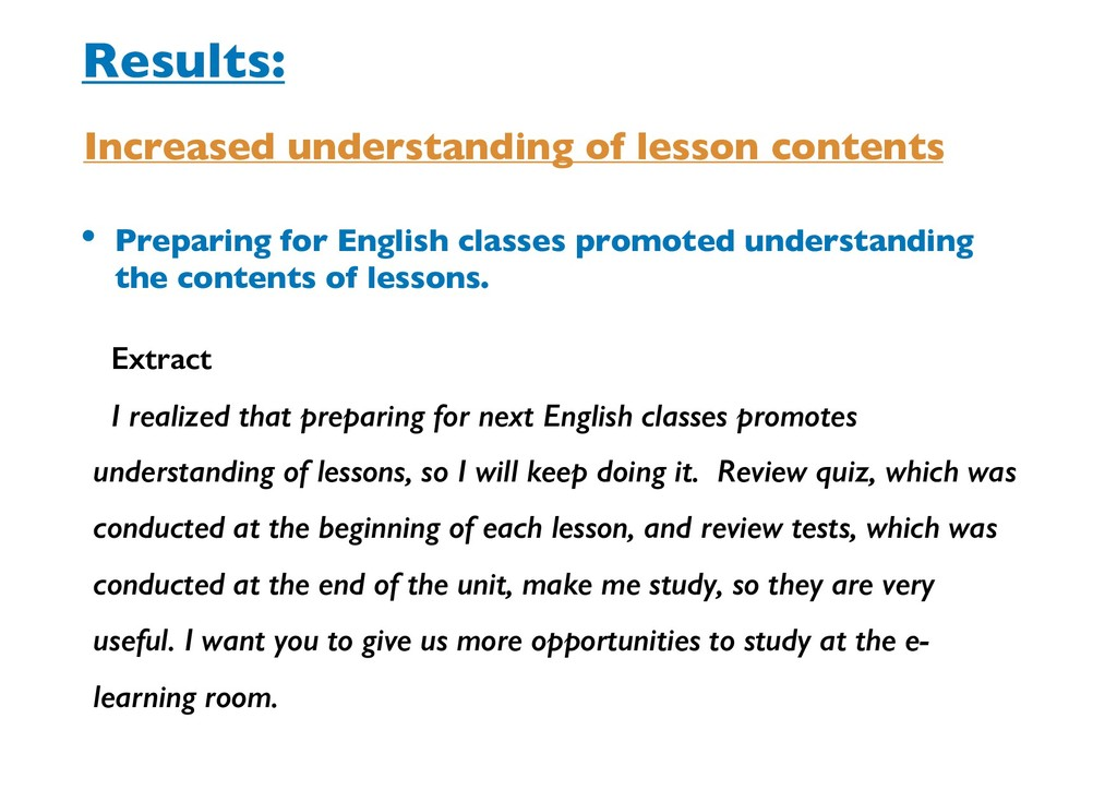 • Preparing for English classes promoted unders...