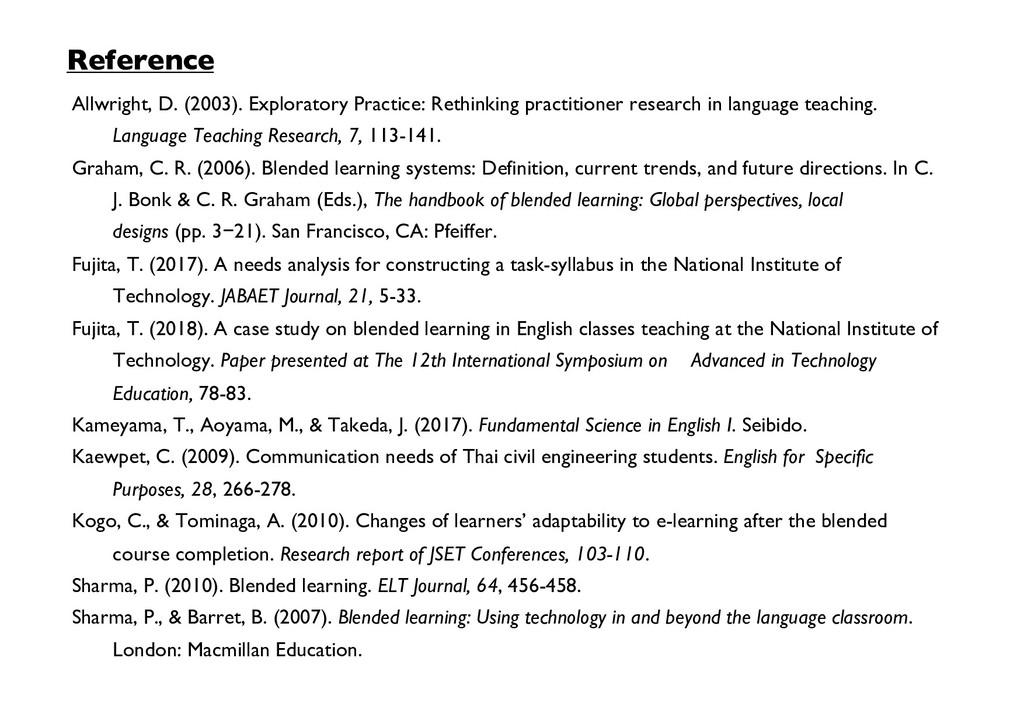 Reference Allwright, D. (2003). Exploratory Pra...