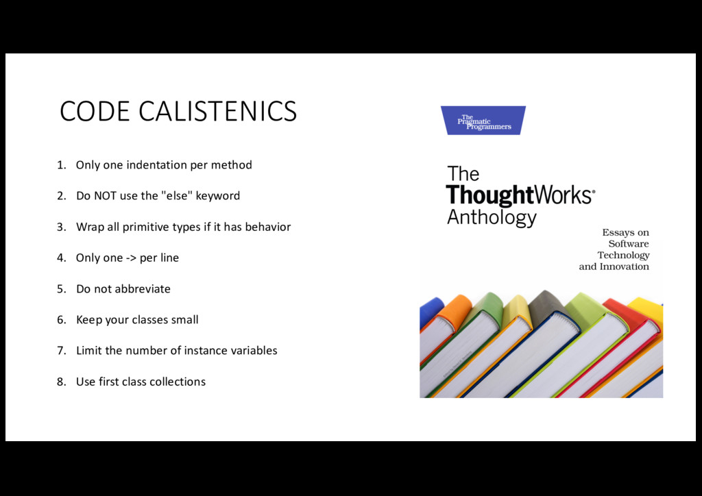 CODE CALISTENICS 1. Only one indentati...