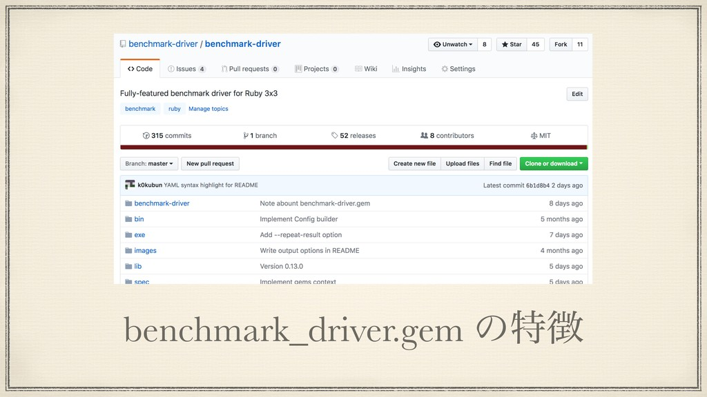 benchmark_driver.gem ͷಛ