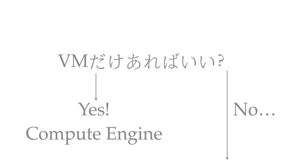 VMだけあればいい? Compute Engine Yes! No…